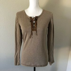 Minnie Rose Tan Stretchy Lace up Neckline Knit Top